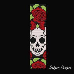 ON SALE Sugar Skull Bow Loom Bracelet Cuff Pattern от LoomTomb