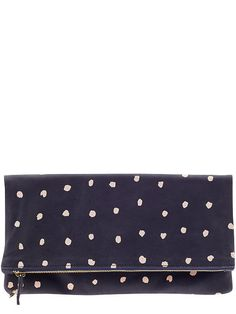 Clare V. Womens Supreme Foldover Clutch Size One Size - Navy with mini spots