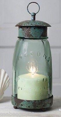 Mason-Jar-Candle-Holder-Mason-Jar-Lantern-Hurricane-Lamp-RUSTIC-metal-screw-top