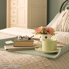 This Mother's Day, take the time to relax in bed with a great book and coffee. Don't forget your colorful flowers to help brighten your morning.