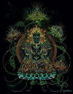 the East was not only a country and something geographical, but it was the home and youth of the soul, it was everywhere and nowhere, it was the union of all time. Psychadelic Art, Green Tara, Psy Art, Buddhist Art, Art Graphique, Visionary Art, Sacred Art, Art Festival, Home Decor Wall Art