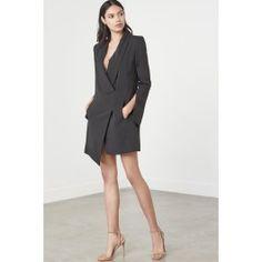 Black Split Sleeve Tuxedo Mini Dress