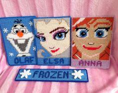 Frozen magnet set. Anna, Elsa, Olaf, handmade Plastic Canvas canvascreations4u