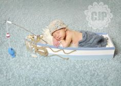 Crochet Baby Boy Fisherman Set Custom Made by StephaniesPropShop, $25.00