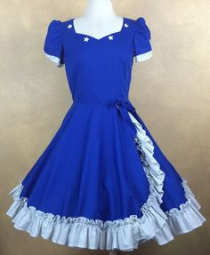 Blue & White Polka Dot Ruffles Star Embellished Square Dance Dress #UnbrandedHomemade