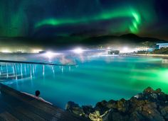 Northern Lights over the Blue Lagoon in Iceland in January Northern Lights Iceland, See The Northern Lights, Aurora Borealis, Adventure Tours, Adventure Travel, Landscape Photos, Landscape Photography, Night Photography, Scenic Photography