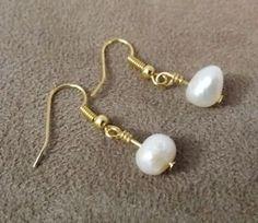 Gold-Plated-Hook-Sweet-Water-Pearl-Earrings-US-Seller-Fast-Shipping #pearl #gold #earrings