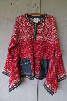Upcycled Nordic Sweater tunic/Funky oversize Eco