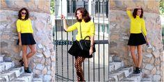 Polo Shirt, michael kors bag, black skirt, yellow, sunglasses, todays, outfit, muotiblogi, fashionblogger, fashion, päivän asu, miau´s life, miauslife, yellow polo