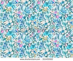 Watercolor Flower Background Pattern. Bright Blue Colorful Modern Brushed Flower Pattern. Watercolor Floral Pattern. Repeating Watercolor Flower Pattern - stock photo