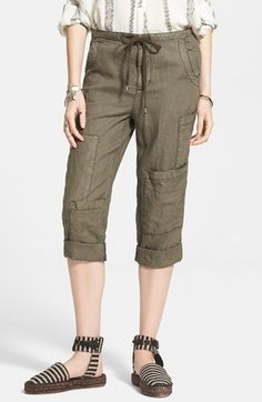 Free+People+Linen+Crop+Utility+Pants+available+at+#Nordstrom