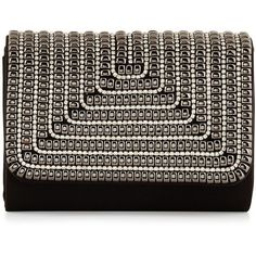 Sondra Roberts Embellished Flap-Top Evening Clutch Bag ($63) ❤ liked on Polyvore featuring bags, handbags, clutches, black, black leather handbags, black clutches, leather handbags, genuine leather handbags and evening purse