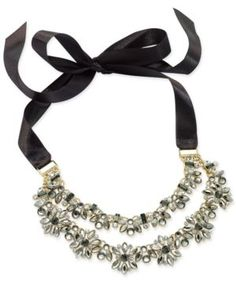 INC Hematite-Tone Crystal Cluster Black Ribbon Choker Necklace, Created for Macy's - Yellow