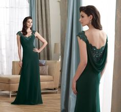 New Style DM020 Cap Sleeves Lace Covered Cowl Back Dark Green Long Chiffon Mother Dress Evening on AliExpress.com.