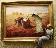 Here's Banksy's version of Jean-François Millet's The Gleaners one of the paintings in his exhibition Banksy v Bristol Museum. Classic French style, classic Banksy visual deception adapted to the interior of an art gallery. Banksy Quotes, Art Banksy, Bansky, Banksy Artwork, Banksy Paintings, Graffiti Quotes, Banksy Canvas, Oil Paintings, Painting Art