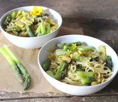 Spring Spaghetti with Asparagus, Zucchini and Green Olives