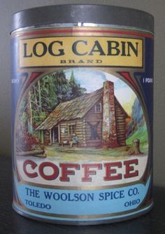Log Cabin Brand Coffee The labeling was so much cooler back then. Vintage Tins, Vintage Coffee, Vintage Labels, Vintage Stuff, Vintage Kitchen, Cabin Coffee, Coffee Tin, Old General Stores, Tin Can Alley