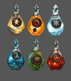 """Potions by Dimikka """"Always hard decisions in life"""" ~Kai Anime Weapons, Fantasy Weapons, Fantasy Creatures, Mythical Creatures, Fantasy World, Fantasy Art, Elemental Powers, Magic Bottles, Weapon Concept Art"""