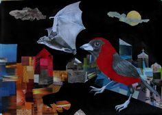 Batman & Robin.- Lapiz, acrilico y collage de recortes