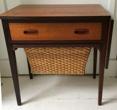 Danish Teak and Rosewood Sewing Table, Made for Heals c1960 Drop Leaf. Rattan