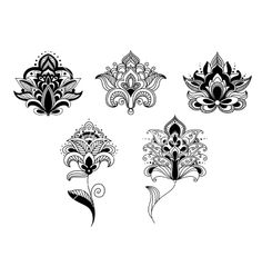 Black lace paisley flowers in persian style vector lotus henna tattoos by Seamartini on VectorStock®