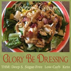 Glory Be Dressing is a delicious salad dressing that is Trim Healthy Mama Deep S compatible, as well as keto, sugar-free, and carb free. Trim Healthy Recipes, Thm Recipes, Cream Recipes, Recipies, Salad Dressing Recipes, Salad Dressings, Best Blenders, Homemade Spices, How To Make Salad