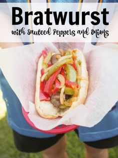 Bratwurst with Sauteed Peppers and Onions   Good Cheap Eats Football never tasted so good. Celebrate game day with Bratwurst with Sauteed Peppers and Onions. Score a touchdown with this quick and easy dish!  http://goodcheapeats.com/2010/02/bratwurst-with-sauteed-peppers-and/