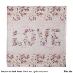 """Traditional Pink Roses Floral word """"Love"""" Duvet Cover"""