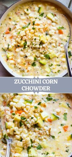 Creamy and fresh zucchini corn chowder loaded with seasonal corn and zucchini! This lightened up chowder is made with fresh sweet corn from the cob, no flour, and half and half. Veggie Soup Recipes, Easy Main Dish Recipes, Food Dishes, Main Dishes, Corn Chowder, Sweet Corn, Pinterest Recipes, Chowders, Cob