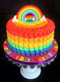 Rainbow decorated cake by Hayley's bespoke bakery visit: www.fireblossomcandle.com for more party ideas!