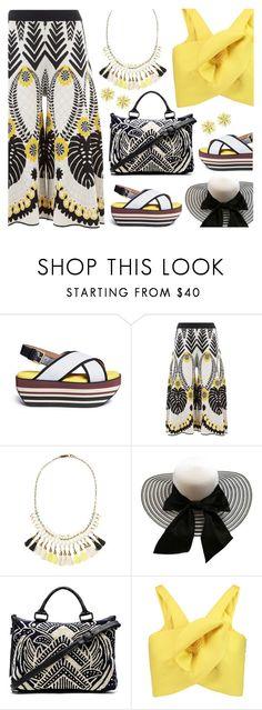"""""""Tropical Prints - Yellow, Black, White"""" by ana3blue ❤ liked on Polyvore featuring Marni, Temperley London, Isabel Marant, Cleobella, Delpozo and Kate Spade"""