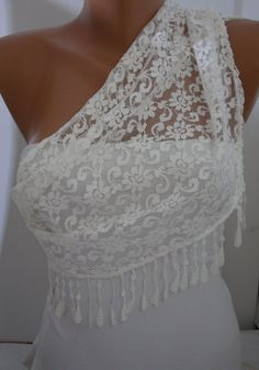 White Lace Scarf- Shawl Headband  Cowl with Lace Edge $15.90