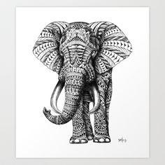 Ornate Elephant Art Print by BioWorkZ - $16.00
