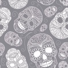 Stretch Jersey Knit Fabric - Skulls on Grey - 92% Cotton 8% Elastane Half Metre