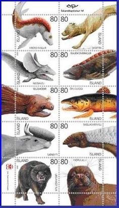iceland stamps - Iceland has some of the weirdest water monsters, including the mercow, the mouse-eared whale, the scaly monsters and the like, which the enterprising Icelanders have featured on a set of special issue postage stamps.""