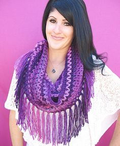 The Mountains Cowl is a zig zag patterned cowl that can be made in three sizes: a large hood cowl, a small cowl, and an infinity scarf.