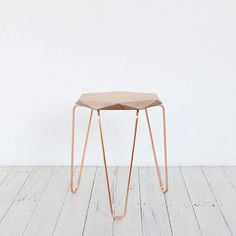 Klein Gem Stool with Natural Top and Copper Hairpin Legs. via Tuckbox