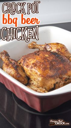 Crock Pot BBQ Beer Chicken – Recipes That Crock! Crock Pot BBQ Beer Chicken is an easy slow cooker meal that produces a juicy, flavorful chicken. Great economical way to feed the family! Crockpot Dishes, Crock Pot Slow Cooker, Crock Pot Cooking, Healthy Crockpot Recipes, Slow Cooker Recipes, Cooking Steak, Beer Recipes, Delicious Meals, Crockpot Meals