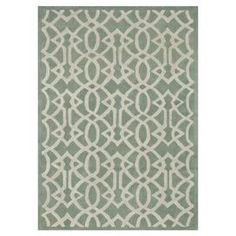 "Wool rug in mist with an interlinked lattice motif. Handcrafted in India.    Product: RugConstruction Material: 100% WoolColor: MistFeatures:  HandmadeMade in India Dimensions: 5' x 7'6"" Note: Please be aware that actual colors may vary from those shown on your screen. Accent rugs may also not show the entire pattern that the corresponding area rugs have. Cleaning and Care: Clean spills immediately by blotting with a clean sponge or cloth. Vacuum carefully without beater bar. Expect…"
