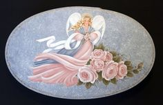 Handpainted Angel with Roses - Oval Box. $50,00, via Etsy.