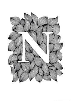 Palatino - Ink on paper, 21 x 30 cm - Ellen van de Sande Doodle Art Drawing, Mandala Drawing, Mandala Art, Painting & Drawing, Alphabet Design, Alphabet Art, Letter Art, Name Drawings, Pencil Art Drawings