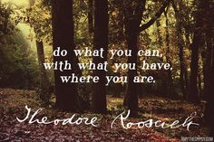 """""""Do what you can, with what you have, where you are."""" - Theodore Roosevelt"""