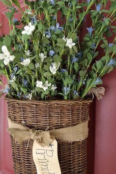 Primitives ~ Grapevine Hanging Basket with Flowers ~ Blue and White.
