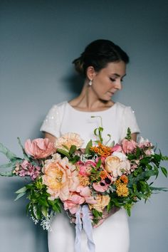 Blush Oversized Bridal Bouquet | Bride in Bespoke Gown | Peach & Mint Intimate Wedding Ceremony at the Asylum & Art Deco Reception at Brockwell Lido, London | Babb Photo