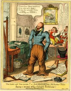 "Too long and too loose!! Or Lord Sham-Peter the amateur tailor.  Published by J Sidebotham   Print made by Charles Williams   1816  By his right foot is an advert saying "" Stays & Corsets for the Masculine Gender by Sham Peter"""