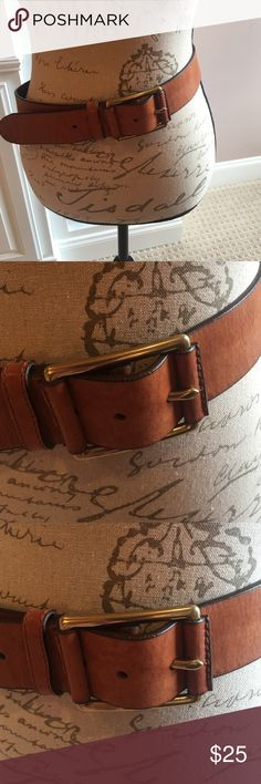 """LC Belt This is a very Unique looking Liz Claiborne Belt. All Genuine Leather almost a Camel color with brass Buckle. Has 2 Leather pieces stitched to each side of the Buckle. Has a a darker type boarder all around the Belt. Awesome piece! Ladies Large. ** NWOT** Appox. 44"""" long Liz Claiborne Accessories Belts"""