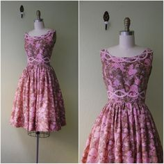 1950's Brown and Pink Floral Dress Extra Small//Floral Fitted Dress with Full Skirt//Sleeveless Pink Floral Dress