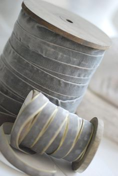 soft grey velvet ribbon on wooden bobbins. Grey And White, Blue Grey, Gray Color, Neutral Colors, Vibrant Colors, Grey Ribbon, Velvet Ribbon, Ribbon Work, Gris Taupe