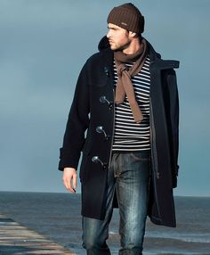 Saint James, Fashion Wear, Mens Fashion, Fashion Outfits, Nautical Outfits, Nautical Clothing, Breton Stripe Shirt, French Outfit, Duffle Coat