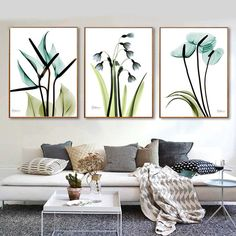 3 pcs Blue Flowers Canvas Poster Minimalist Art Canvas Painting Plant Wall Picture Print Modern Home Room Decoration Canvas Poster, Poster Wall, Canvas Wall Art, Blue Canvas, Summer Decoration, White Wooden Floor, Gallery Wall Layout, Gallery Walls, Flower Canvas